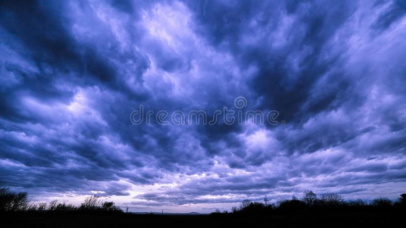 Landscape background of dark cloudy sky before a thunder-storm.  stock photography