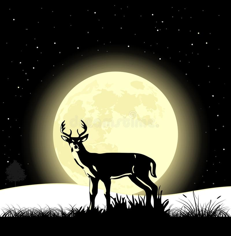 Landscape background. Deer on the moonlight vector illustration