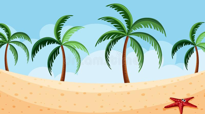 Landscape background design of beach at daytime. Illustration vector illustration