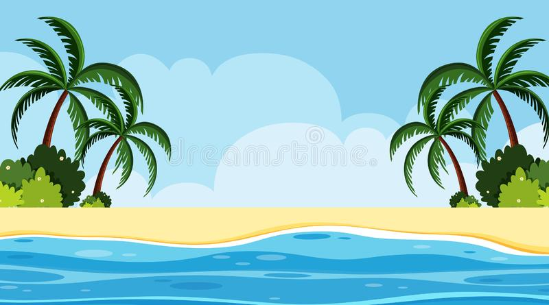 Landscape background design of seaside at daytime. Illustration stock illustration
