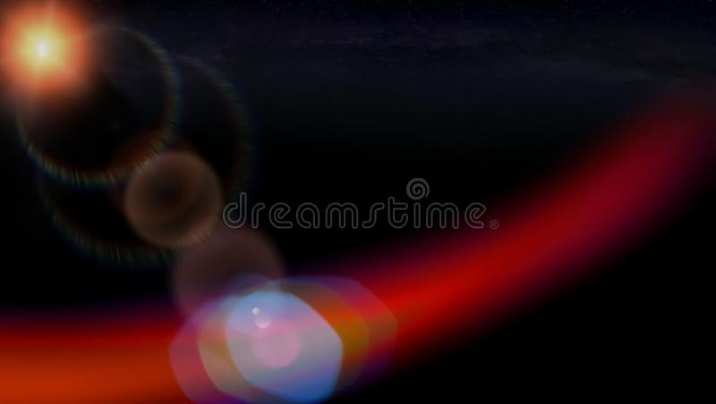 Landscape background of lens flare lights with dark royalty free stock images