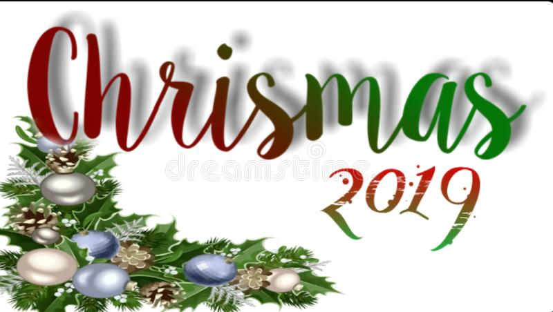 Landscape background of Merry Christmas celebration 2019 royalty free illustration