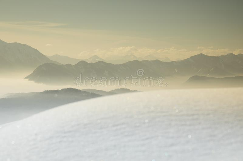 Landscape background, Mountains and winter space for your text royalty free stock photography