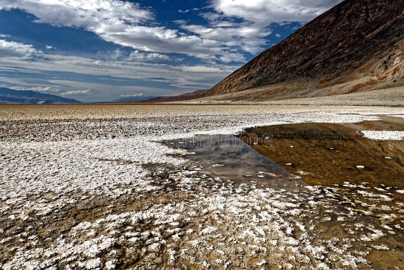 Badwater Basin, Death Valley National Park, California. Landscape of Badwater Basin in Death Valley National Park, California with blue skies on sunny day royalty free stock photography