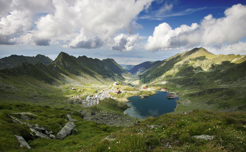 Landscape from Balea Lake in Romania. Landscape from Balea Lake, Fagaras Mountains, Romania in the summer royalty free stock image