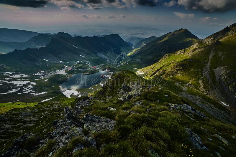 Landscape with Balea Lake. And Transfagarasan highway in Romania stock images
