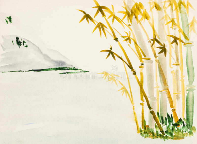 Landscape with bamboo grove and mountain. Training drawing in suibokuga style with watercolor paints - landscape with bamboo grove and mountain on ivory colored royalty free illustration