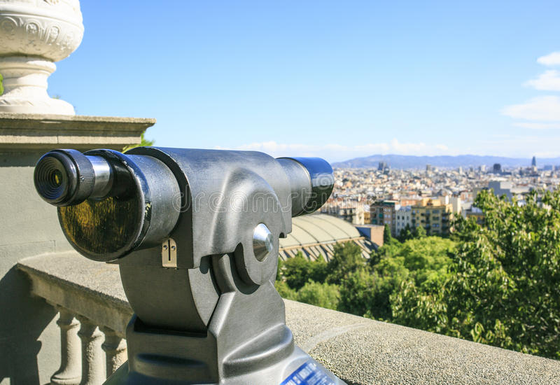 Landscape of Barcelona from montjuic stock photos