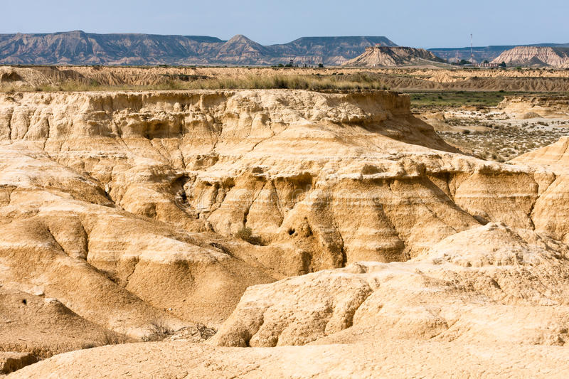 Landscape of Bardenas blancas in Navarre, Spain. The Bárdenas Reales is a semi-desert natural region, or badlands, of some 42,000 hectares (100,000 acres) in royalty free stock image