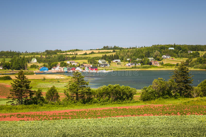 Landscape with bay in Prince Edward Island Canada. Landscape view of bay near Cavendish, Prince Edward Island, Canada stock photo