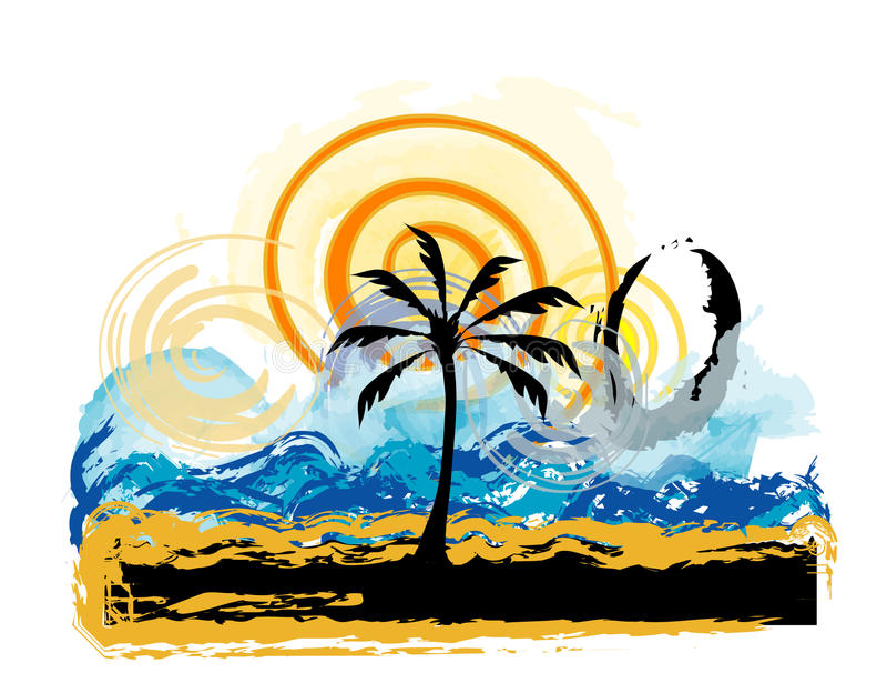 Landscape, Beach vector illustration