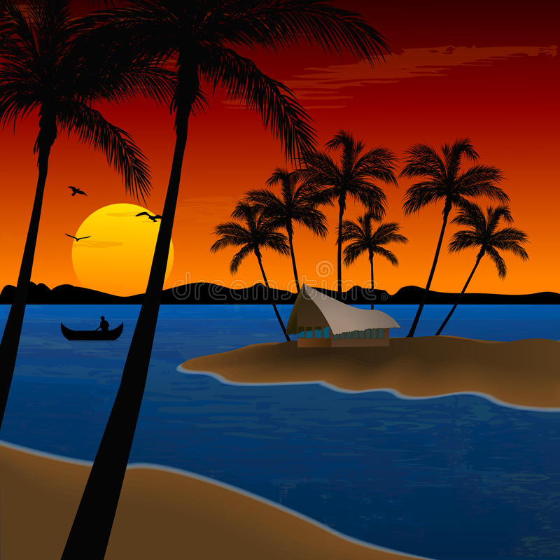 Landscape of beach with coconut trees, hut royalty free illustration