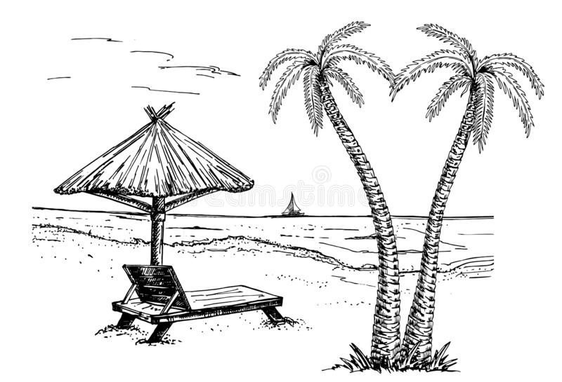 Landscape with a beach sketch. palms, chaise longue, parasol and yachts royalty free illustration