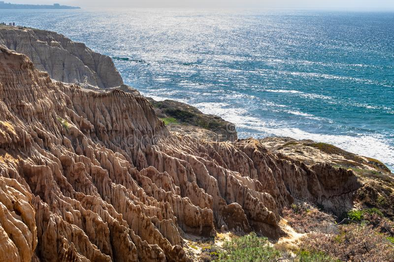 Landscape and beach view from Torrey Pines State Reserve and Beach in San Diego, California royalty free stock photos