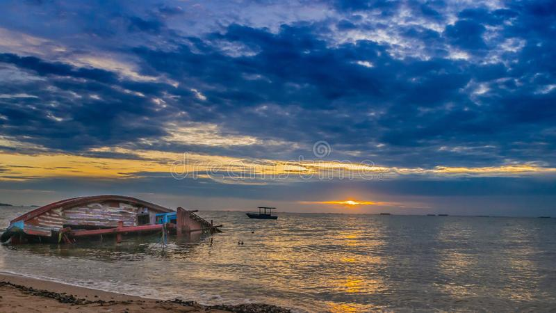 Landscape of Beaches with sea and boat crashes , Pattaya Thailand.  royalty free stock photography