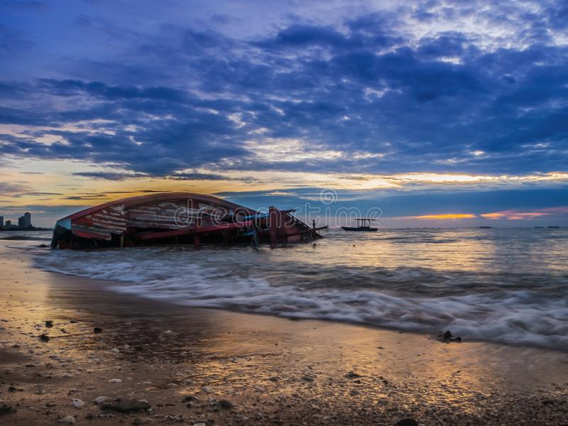 Landscape of Beaches with sea and boat crashes , Pattaya Thailand.  royalty free stock photos