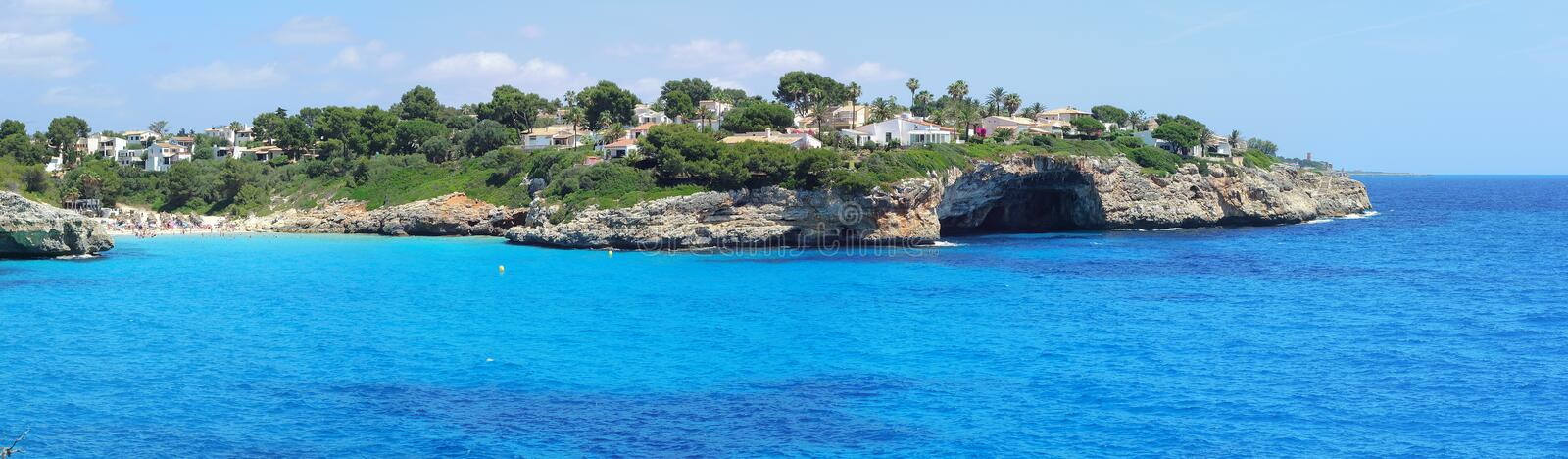 Landscape of the beautiful bay of Cala Anguila with a wonderful turquoise sea, Porto Cristo, Majorca, Spain. Summer time royalty free stock image