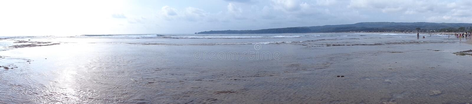 Landscape of beautiful beach with blue Sky, Banten, Indonesia royalty free stock image