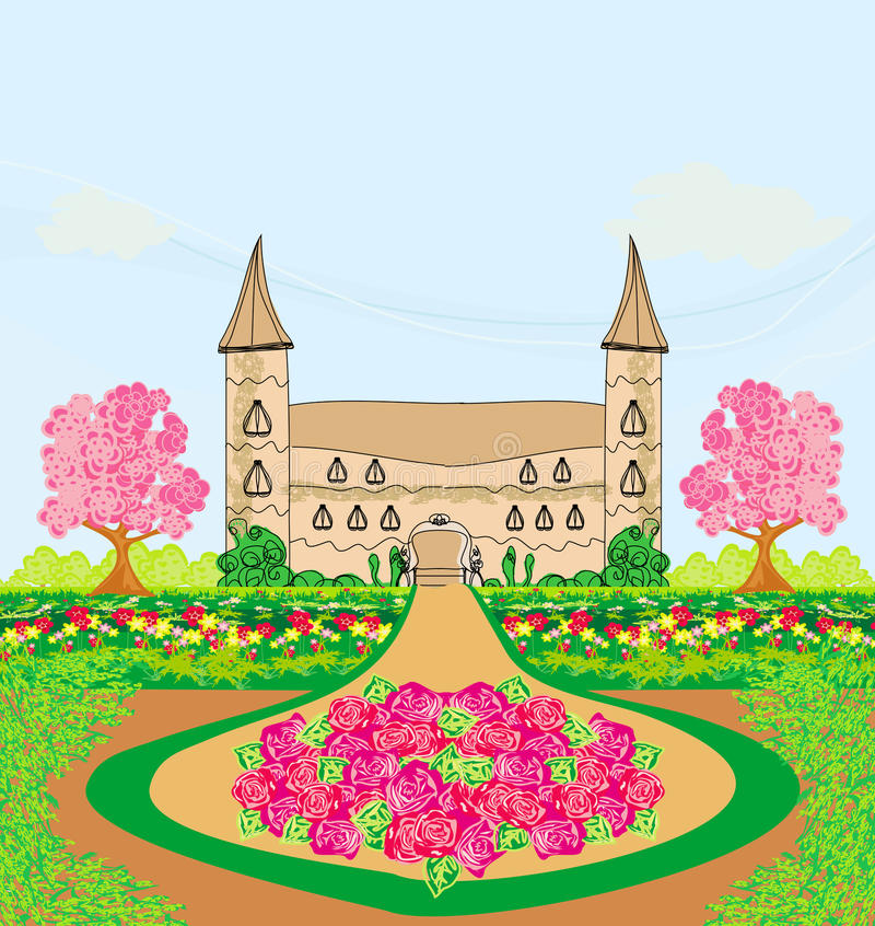 Landscape with a beautiful castle and gardens