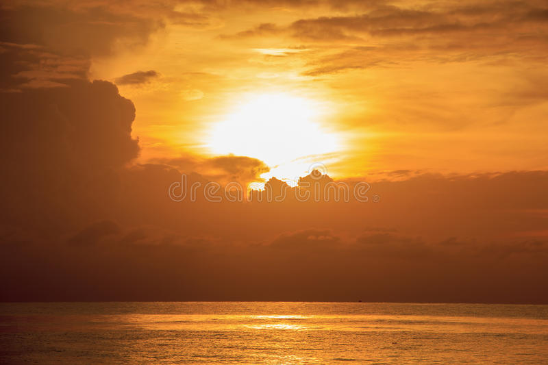 Landscape of beautiful cloudy sky and sea at dawn royalty free stock images