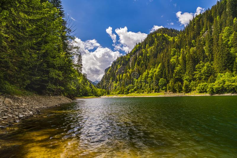 Landscape with a beautiful lake in Parang mountains royalty free stock photos