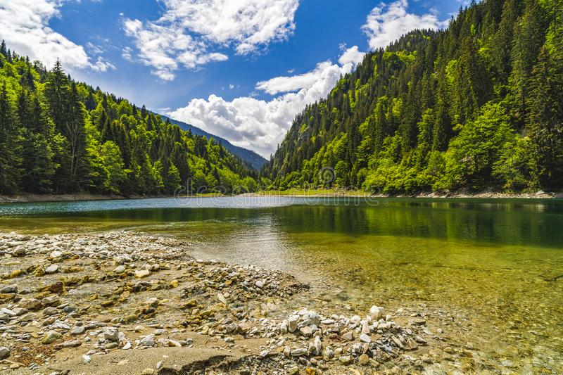 Landscape with a beautiful lake in Parang mountains royalty free stock image