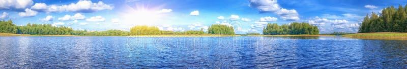 Landscape of beautiful lake at summer sunny day stock image