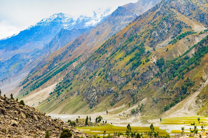 Landscape of beautiful mountains and vallies of northern areas of pakistan stock photography