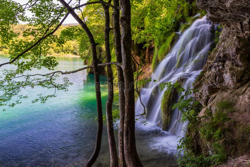 Landscape with beautiful waterfall in Plitvice Lakes National Park, Croatia royalty free stock photos