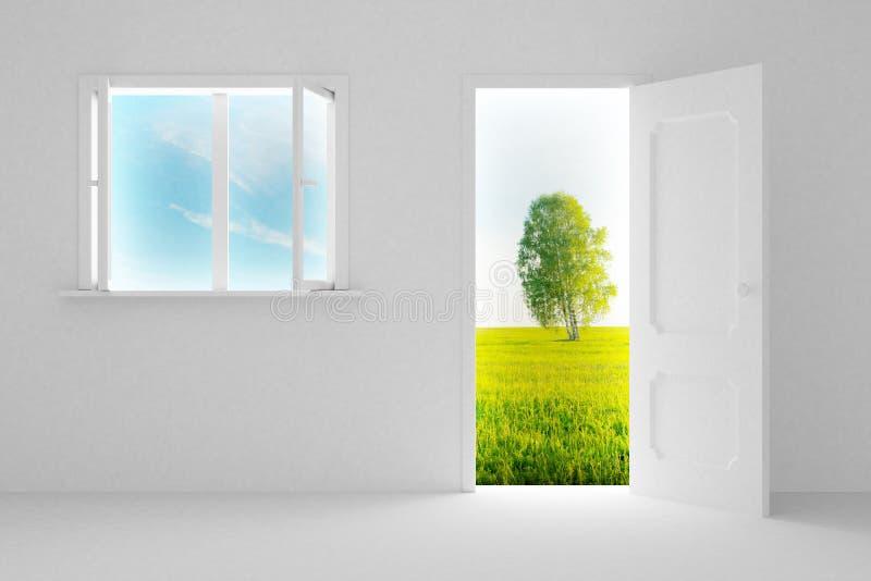 Landscape behind the open door and window. vector illustration