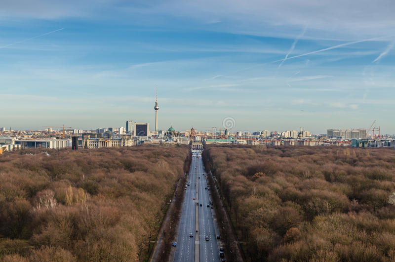 Landscape of Berlin TV Tower and Brandenburg Gate. Beautiful landscape of Berlin TV Tower, Brandenburg Gate and Tiergarten park in Berlin, Germany. The stock photos