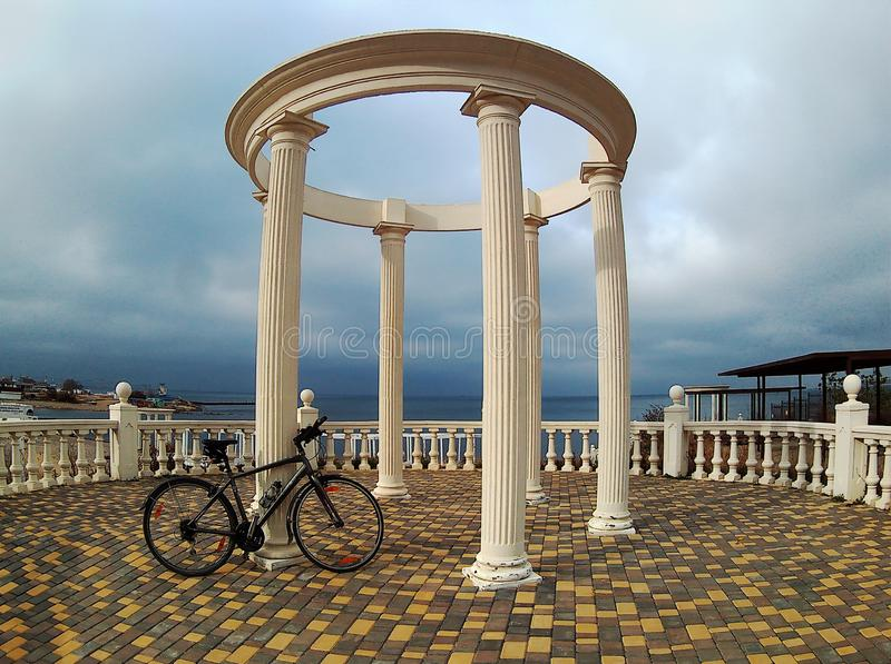 Landscape with a bicycle by the rotunda royalty free stock images