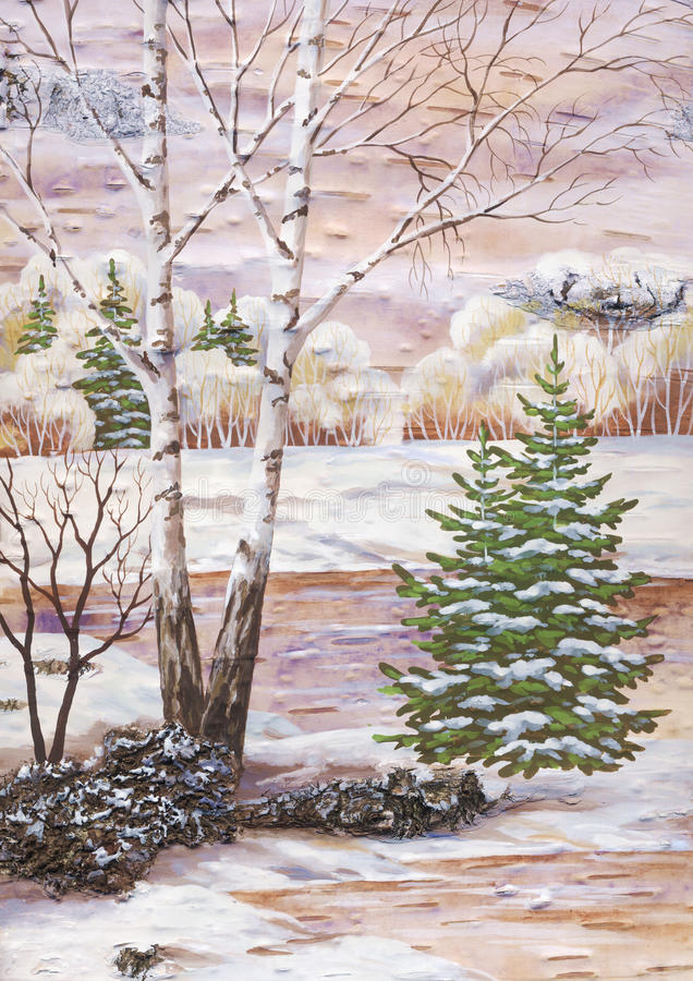 Download Landscape With A Birch And Fur-trees Stock Illustration - Image: 14259943