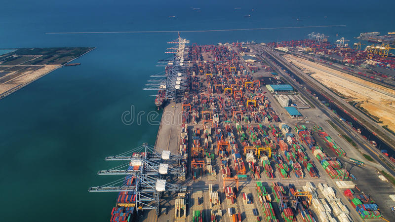 Landscape from bird eye view for Laem chabang logistic port royalty free stock photography