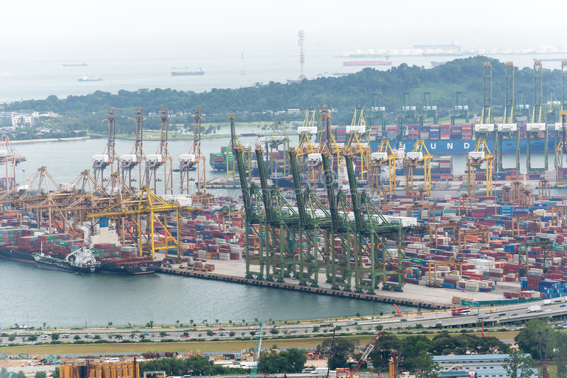 Landscape from bird view of Cargo ships entering one of the busiest ports in the world, Singapore. royalty free stock photo