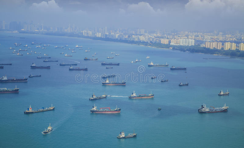 Landscape from bird view of Cargo ships stock images