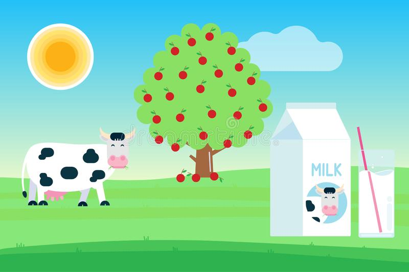 Landscape with black white spotted cow stand and chew with grass in its mouth near fruit tree, pack of milk and glass of milk flat stock illustration