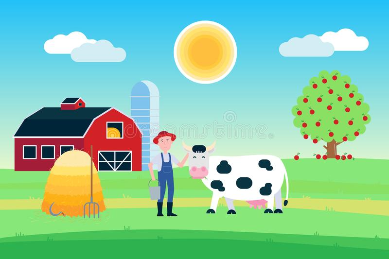 Landscape with black white spotted cow stand with grass mouth near farmer and haystack in front of red barn flat style vector illu. Stration. Blue sky and stock illustration