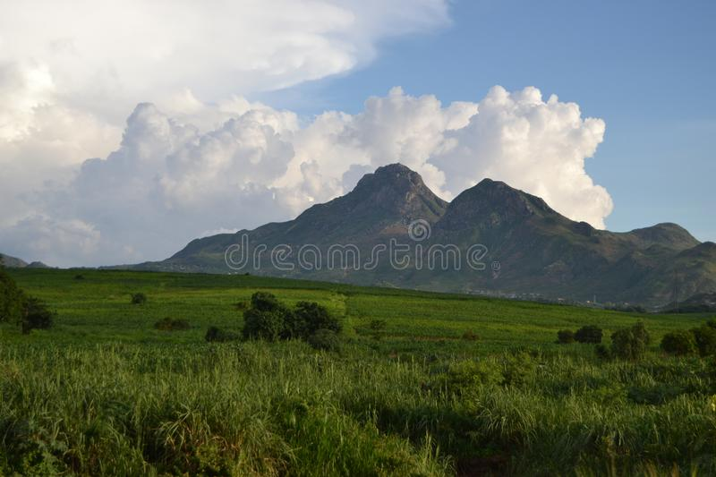 Landscape of Blantyre town. Landscape of Blantyre capturing the mountain area, with green luscious field of grass royalty free stock photos