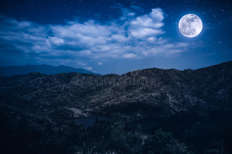 Landscape of blue dark night sky with many stars and cloudy. stock photography