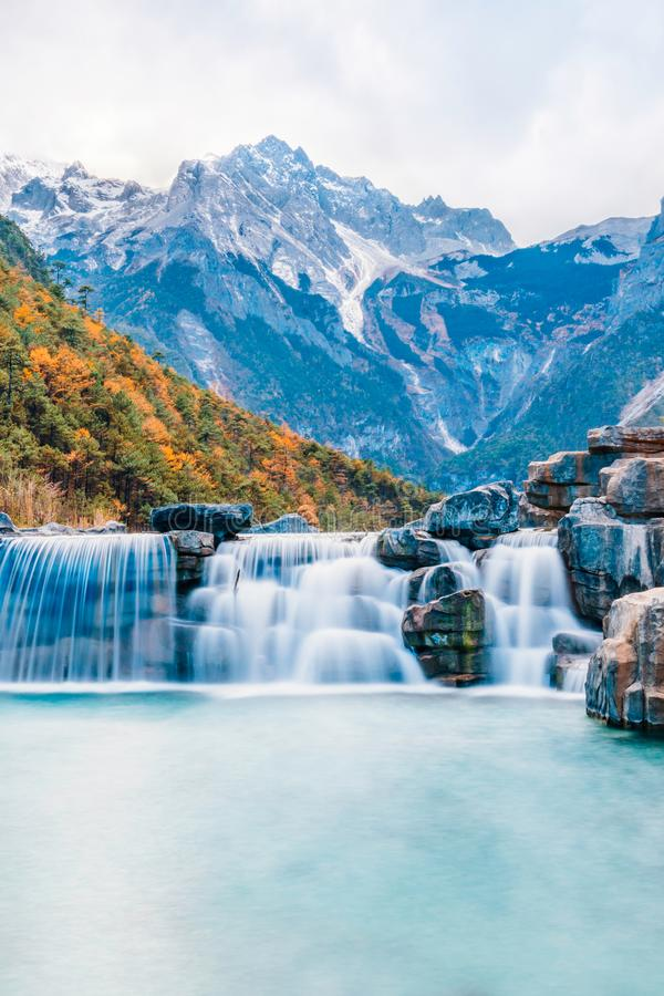 Black Dragon Pond Scenery of Yulong Snow Mountain in Lijiang, Yunnan, ChinaLandscape of Blue Moon Valley in Jade Dragon Snow Mount. Landscape of Blue Moon Valley stock photography