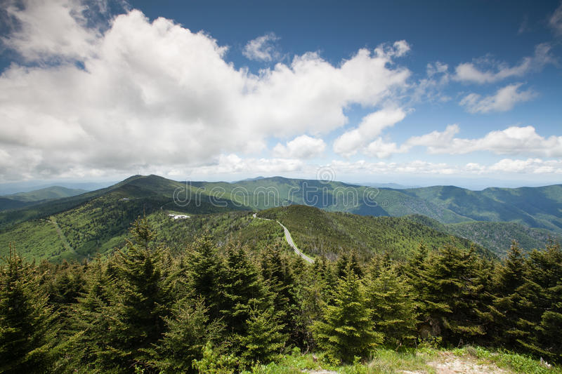 Landscape Blue Ridge Mountains Mt Mitchell NC. A breathtaking view of the Blue Ridge Mountains, forests, and rolling ridges as seen from the observation tower at royalty free stock images