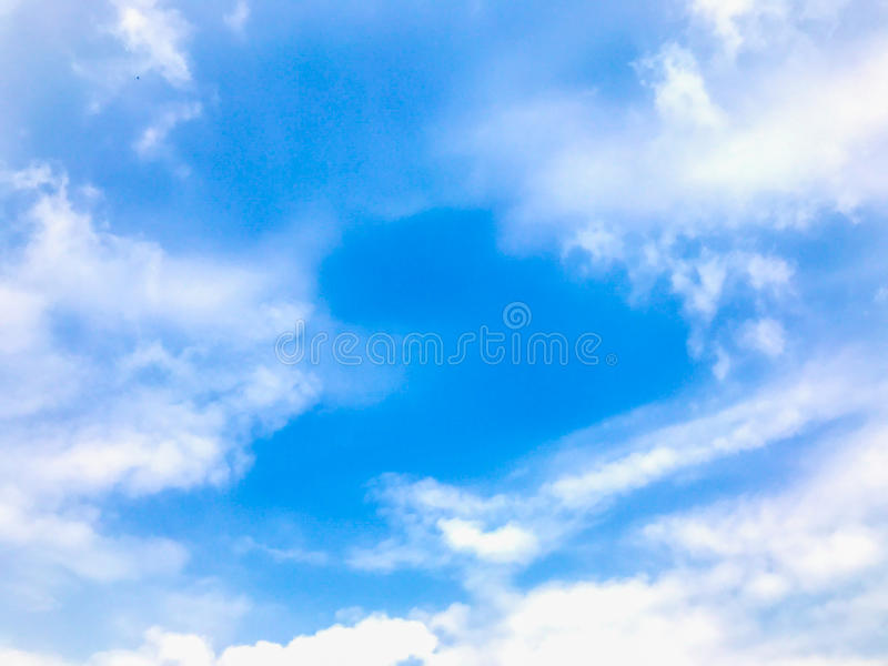 Landscape blue sky with soft clouds use background stock photo