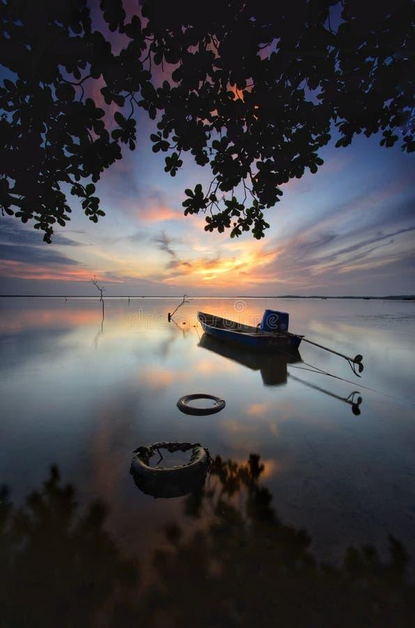 Sunrise at jubakar beach, tumpat kelantan malaysia royalty free stock photo
