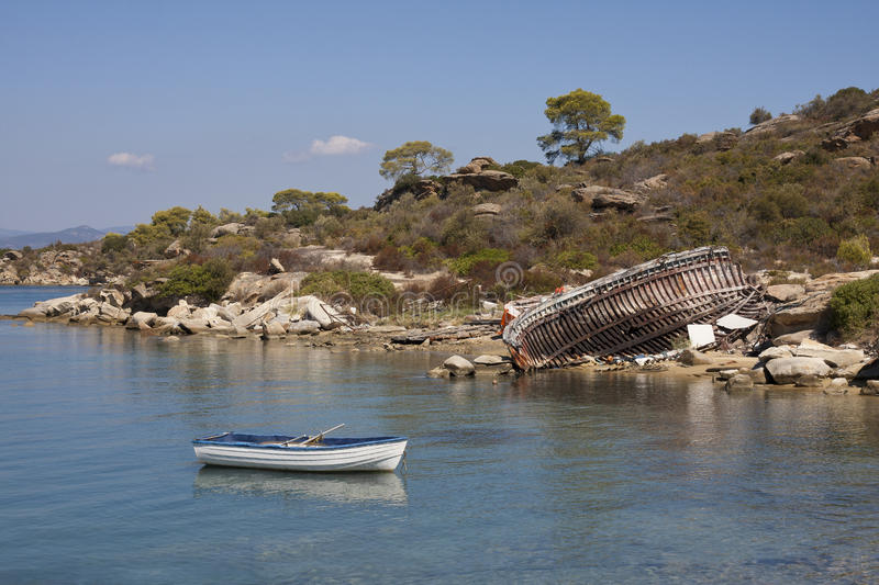 Landscape boats Greece royalty free stock photography