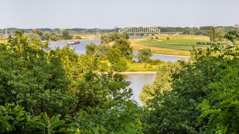 Rhine landscape Arnhem Netherlands royalty free stock image
