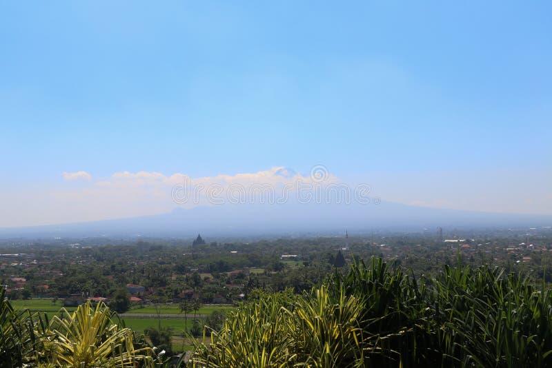 Landscape of Bromo Volcano from Abhayagiri Restaurant,Yogyakarta,Indonesia. Landscape of Bromo Volcano that is taken photo from Abhayagiri Restaurant,Yogyakarta stock photography