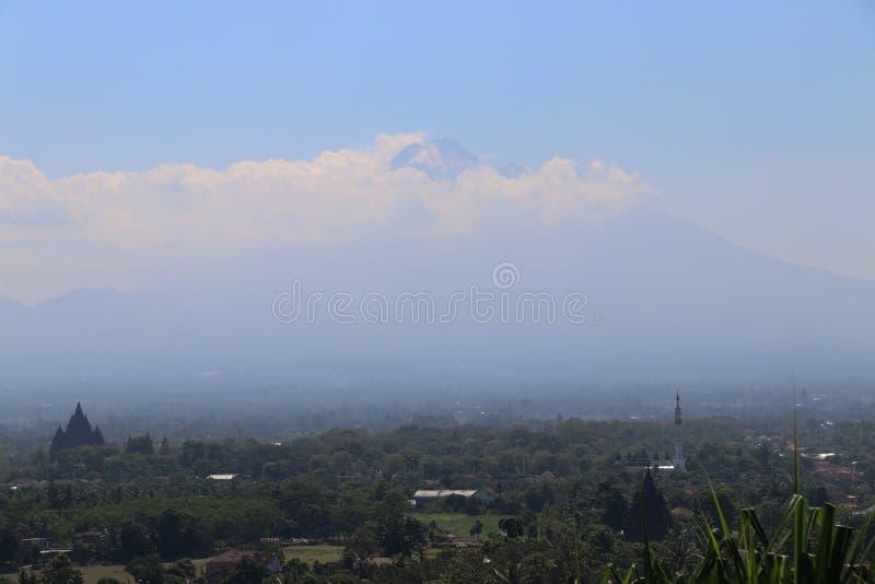 Landscape of Bromo Volcano from Abhayagiri Restaurant,Yogyakarta,Indonesia. Landscape of Bromo Volcano that is taken photo from Abhayagiri Restaurant,Yogyakarta royalty free stock photo