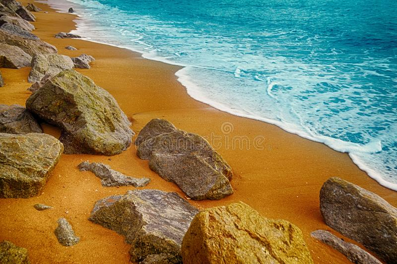 Landscape of brown stone and sea beautiful beach Bang Niang Bea. Ch nature ,summer background ,Thailand royalty free stock photo
