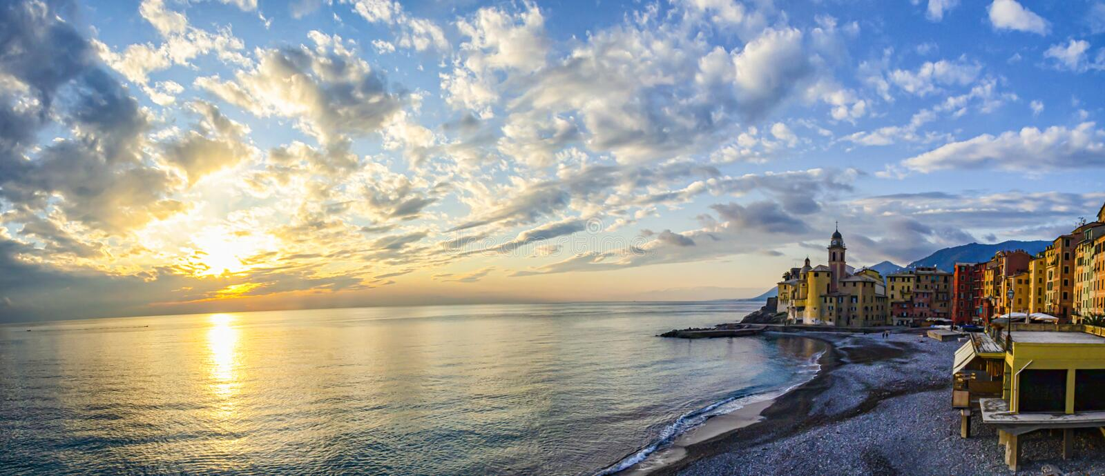 Landscape of Camogli at sunset. In winer season royalty free stock photography